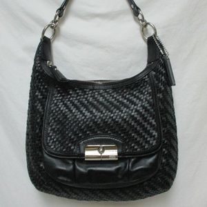Coach Kristen Woven Leather Hobo Shoulder Bag zip